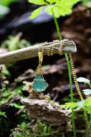 14 Karat Gold Aqua Green Bespoke Yorkshire Sea Glass Necklace