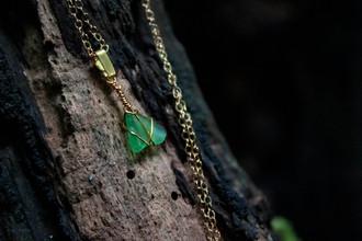 Aqua Green Yorkshire Sea Glass Handmade 14kt Gold Necklace
