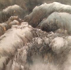 village in deep snow