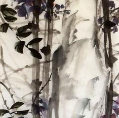 white stone with wisteria