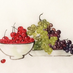 red cherries with grapes