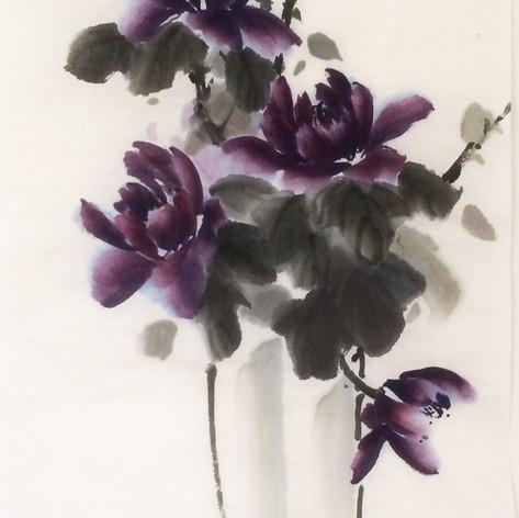 purple peony vase