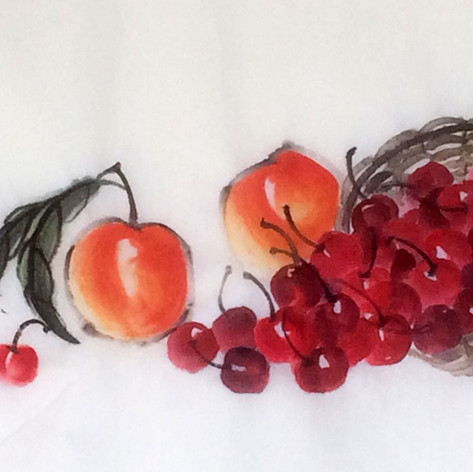 tumbling cherries and peaches