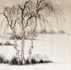 wilderness anchorage in the shade of willows after Guo Xi