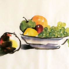 pomegranate and bowl of fruit