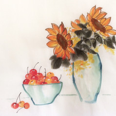 sunflower and cherries are friends