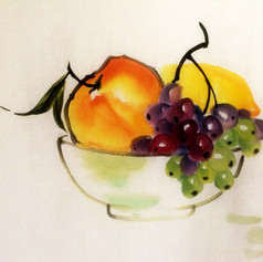 peach lemon and grapes