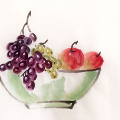 apples and grapes fruit bowl