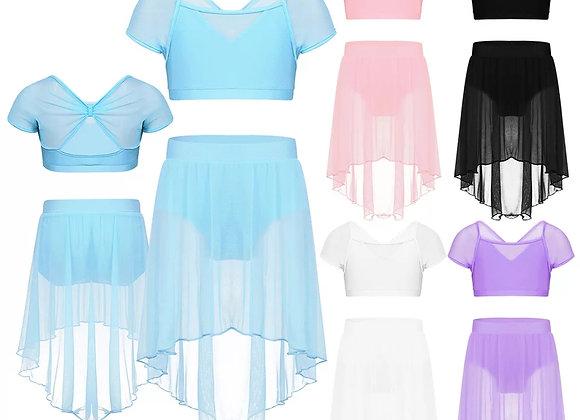 Pastel Crop Top & Skirt Set