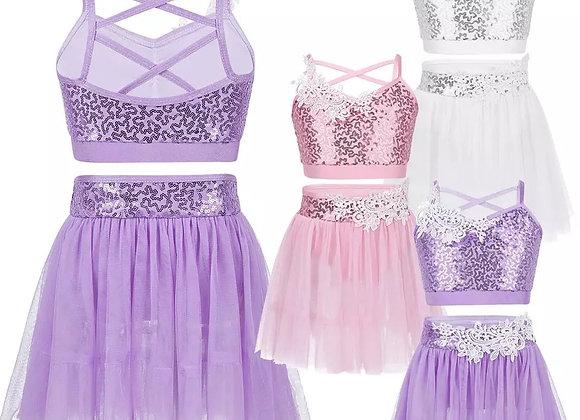 Lace & Sequin Top & Skirt Set