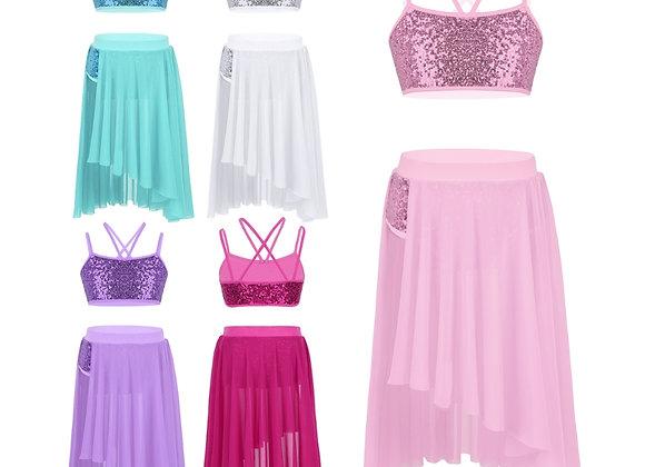 Sequin Crop Top & Skirt