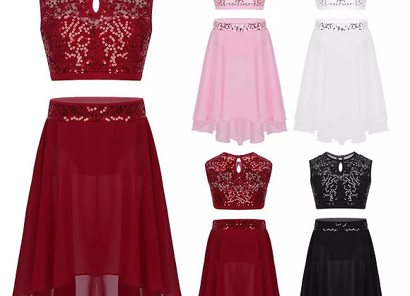 Sequinned Cropped Top and Skirt Set
