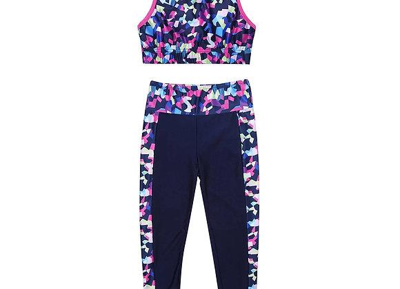 Multi coloured Crop Top & leggings