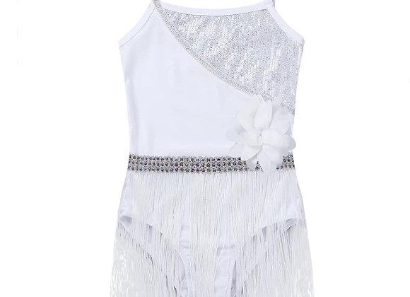 White & silver Tassel Dress