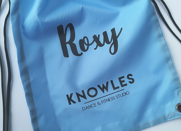 Knowles Blue Drawstring Bag