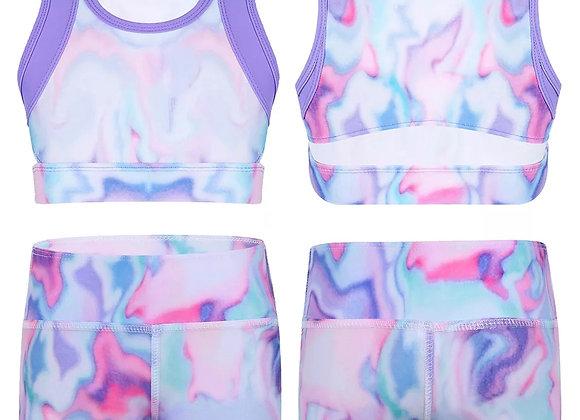 Purple tie dye Crop Top & Shorts