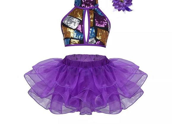 Purple sequin dance costume