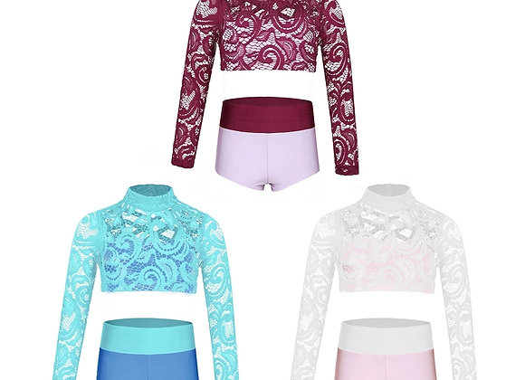 Long sleeved lace crop top & shorts