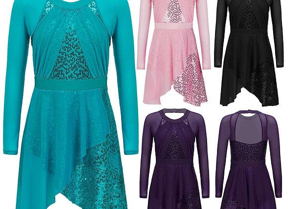 Sequins Long Sleeve Tulle Dress Ballet Dance Leotard Dress