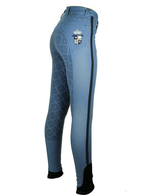 Mink Horse: Ladies Full Seat Power Grip - Crystal Denim (Sky Blue)