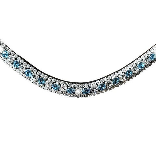 Baby Blue Crystal Browband, Brown Leather