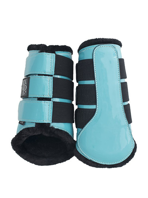 Punk Ponies Brushing Boots--Turquoise/Black, Pony and Cob