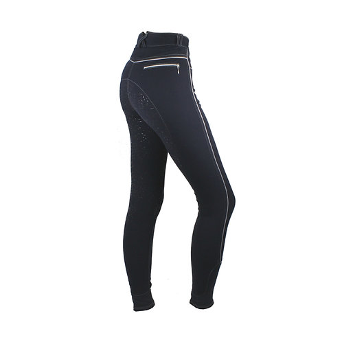 Mink Horse Breeches- Full Seat- Leaves with Power Grip (Navy)