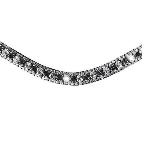 Silver Deep Wave Crystal Browband (Black Leather)