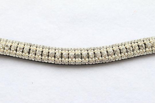 Punk Ponies Bling Browband--Diamond w/pearl-Black Full