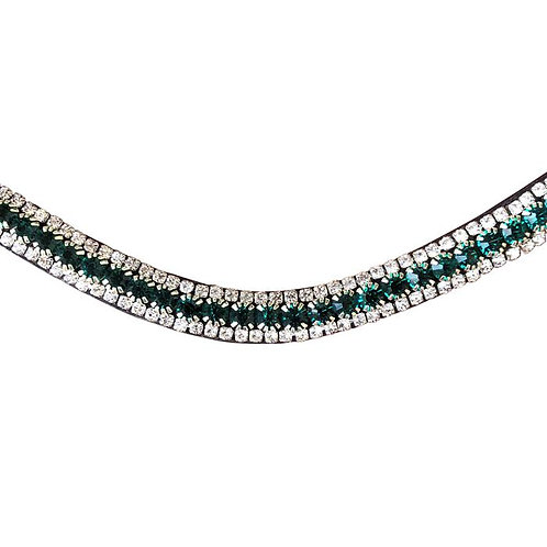 Emerald Crystal Browband (Blk Leather)