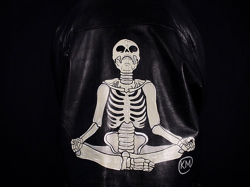 Yoga Bones Hand-Painted Leather Jacket
