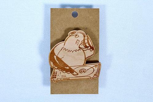 Dj Pigeon Wooden Pin