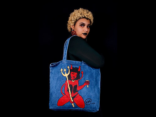 Devil Hoe Handpainted Denim Tote