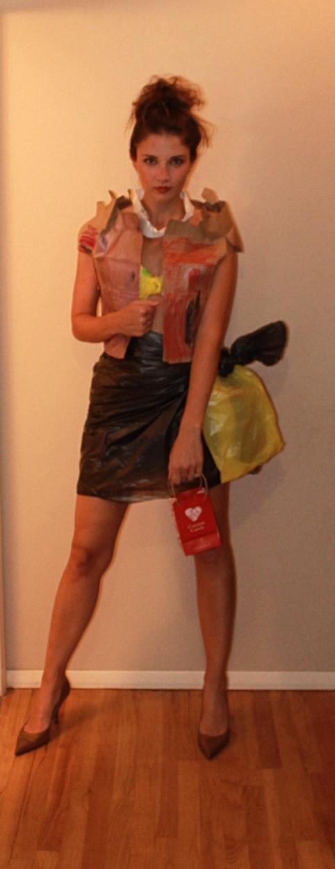 Paper bag vest, bag bralette and skirt