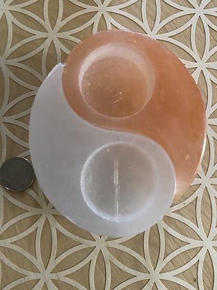 Yin/Yang Selenite Candle/Crystal Holde