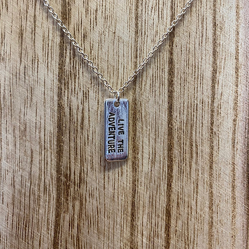 """Live the Adventure"" Quote Necklace"