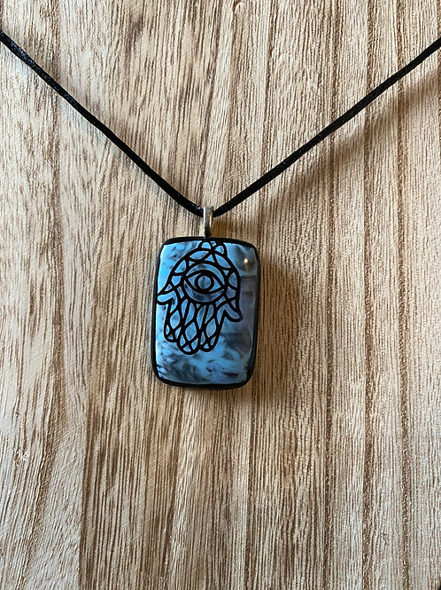 Artisan-Made Hamsa Glass Pendant With Sterling Silver