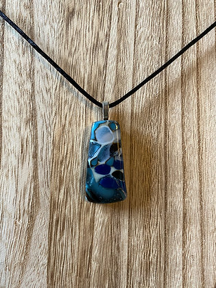 Artisan-Made Glass Pendant, With Palladium 18 Inch Silky Cord Necklace