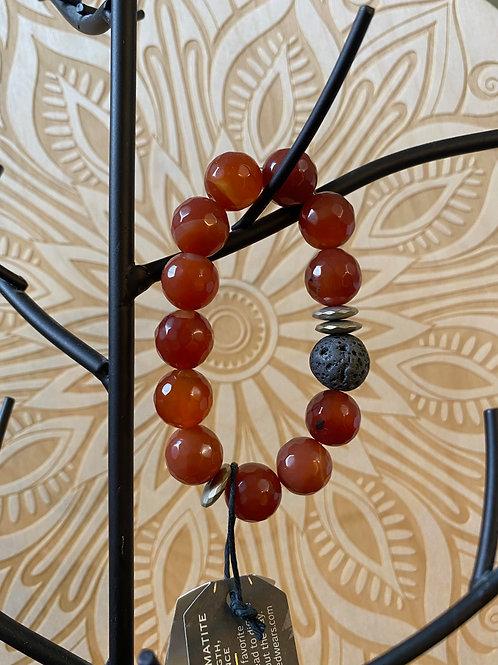 Lava, Hematite, And Gemstone Bracelet