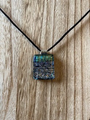 Artisan-Made Glass Pendant, With Dichro and Sterling Silver