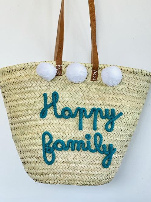 Panier Happy family turquoise