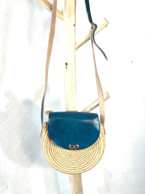 Rond raphia turquoise