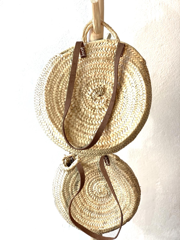 Série de 2 paniers ronds anses corde et cuir