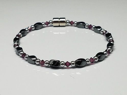 Hematite Twist with Crystal Necklace