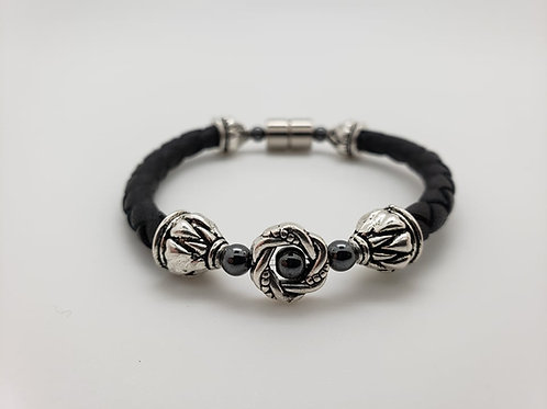 Leather Cord with Silver Wreath