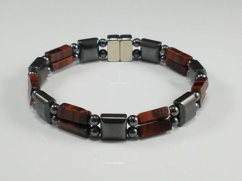 Hematite Square with Red Tiger's Eye