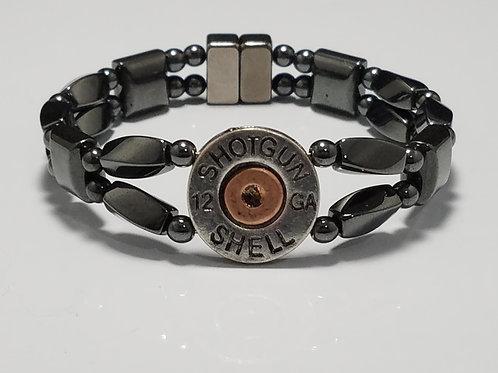 Silver Shotgun Shell Hematite Twist with Copper Center