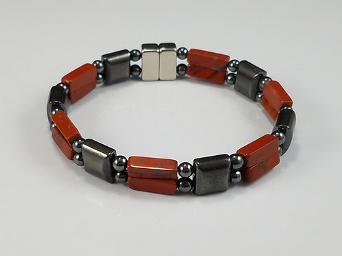 Hematite Square with Red Jasper