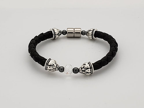 Braided Leather Cord with Clear Crystal