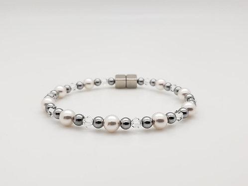 White Pearl with Swarovski Birthstone